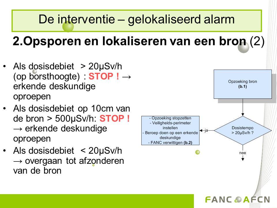 2.Opsporen en lokaliseren van een bron (2) Als dosisdebiet > 20µSv/h (op borsthoogte) : STOP ! → erkende deskundige oproepen Als dosisdebiet op 10cm v