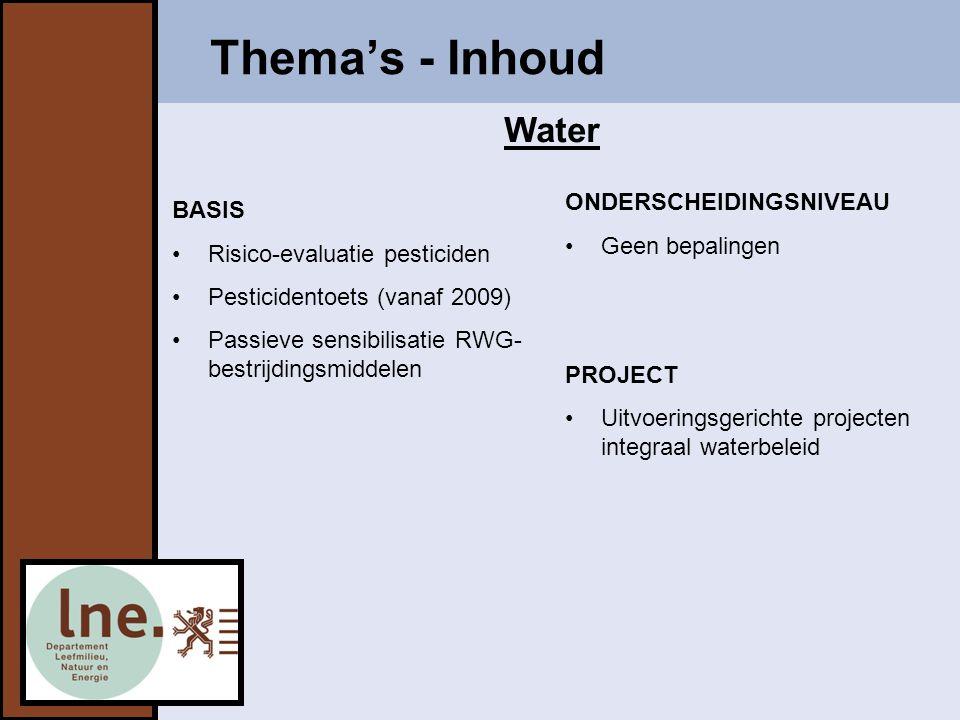 Thema's - Inhoud BASIS Risico-evaluatie pesticiden Pesticidentoets (vanaf 2009) Passieve sensibilisatie RWG- bestrijdingsmiddelen ONDERSCHEIDINGSNIVEAU Geen bepalingen PROJECT Uitvoeringsgerichte projecten integraal waterbeleid Water