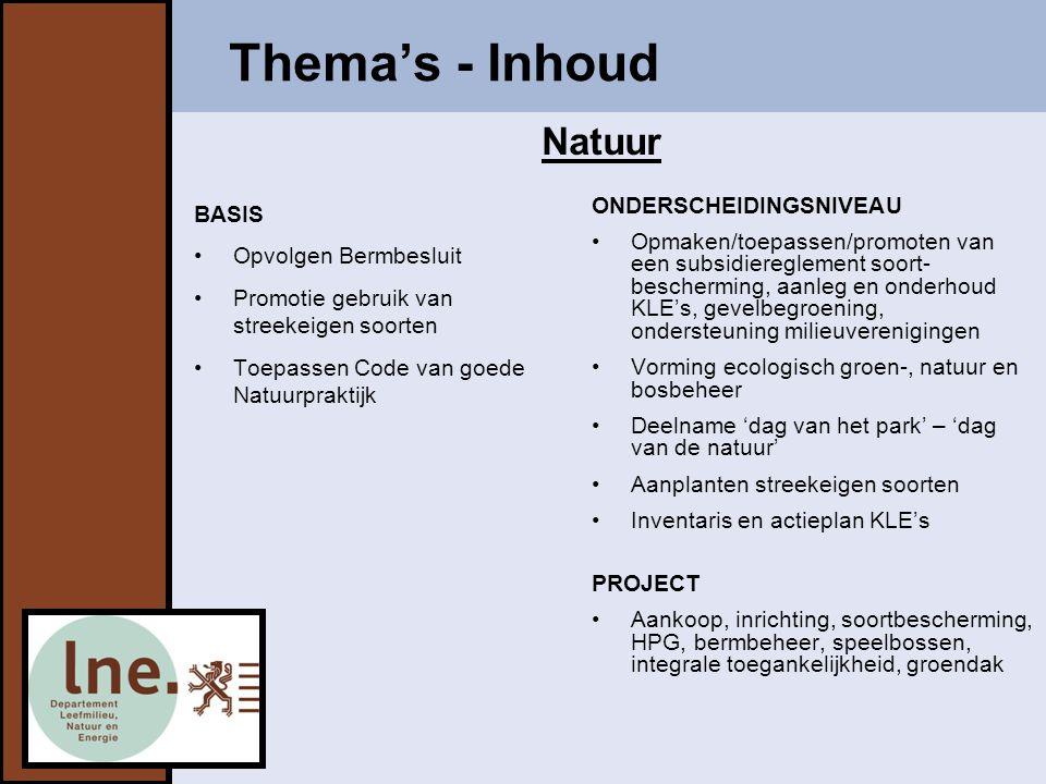 Thema's - Inhoud BASIS Opvolgen Bermbesluit Promotie gebruik van streekeigen soorten Toepassen Code van goede Natuurpraktijk ONDERSCHEIDINGSNIVEAU Opmaken/toepassen/promoten van een subsidiereglement soort- bescherming, aanleg en onderhoud KLE's, gevelbegroening, ondersteuning milieuverenigingen Vorming ecologisch groen-, natuur en bosbeheer Deelname 'dag van het park' – 'dag van de natuur' Aanplanten streekeigen soorten Inventaris en actieplan KLE's PROJECT Aankoop, inrichting, soortbescherming, HPG, bermbeheer, speelbossen, integrale toegankelijkheid, groendak Natuur