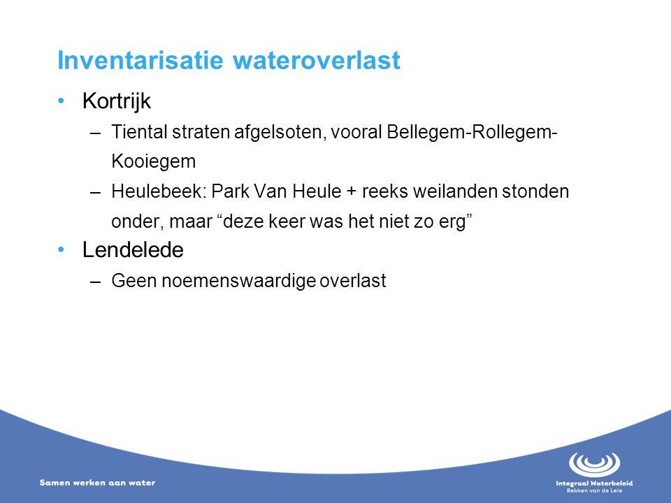 Inventarisatie wateroverlast Kortrijk –Tiental straten afgelsoten, vooral Bellegem-Rollegem- Kooiegem –Heulebeek: Park Van Heule + reeks weilanden sto
