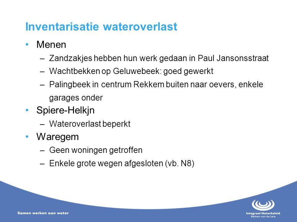 Inventarisatie wateroverlast Menen –Zandzakjes hebben hun werk gedaan in Paul Jansonsstraat –Wachtbekken op Geluwebeek: goed gewerkt –Palingbeek in ce