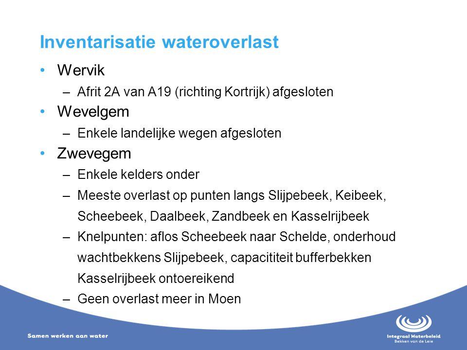 Inventarisatie wateroverlast Wervik –Afrit 2A van A19 (richting Kortrijk) afgesloten Wevelgem –Enkele landelijke wegen afgesloten Zwevegem –Enkele kel