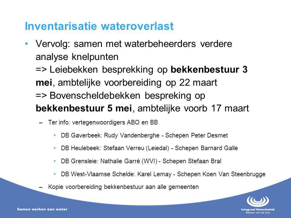 Inventarisatie wateroverlast Vervolg: samen met waterbeheerders verdere analyse knelpunten => Leiebekken besprekking op bekkenbestuur 3 mei, ambtelijk