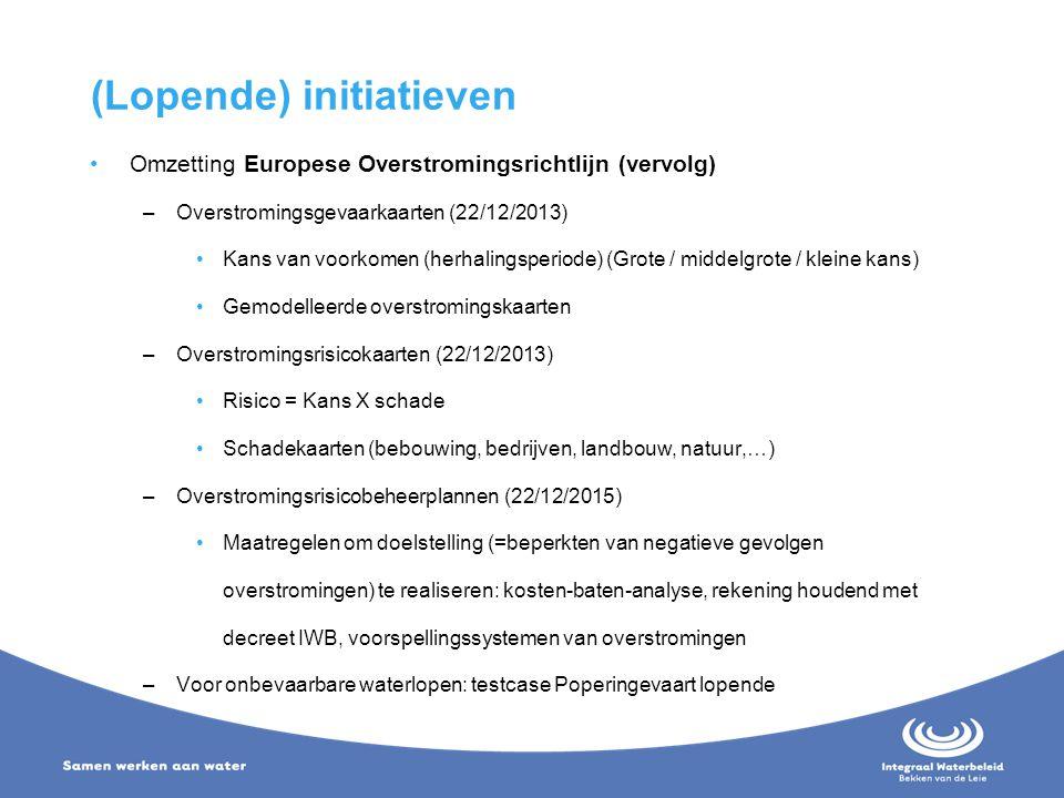 (Lopende) initiatieven Omzetting Europese Overstromingsrichtlijn (vervolg) –Overstromingsgevaarkaarten (22/12/2013) Kans van voorkomen (herhalingsperi