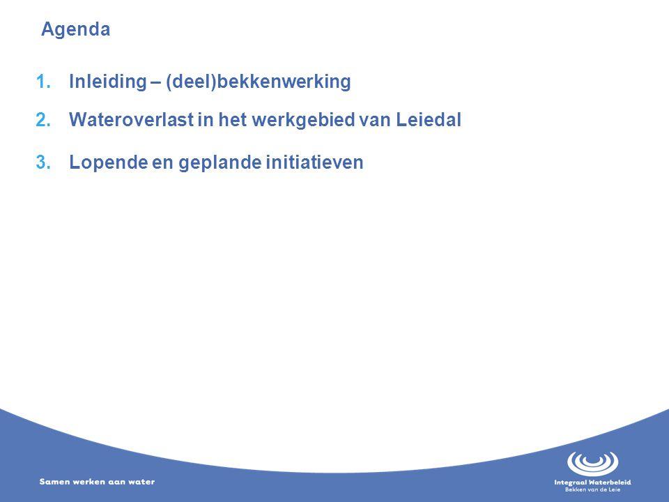 Agenda 1.Inleiding – (deel)bekkenwerking 2.Wateroverlast in het werkgebied van Leiedal 3.Lopende en geplande initiatieven