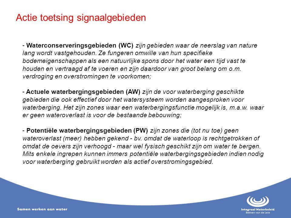Actie toetsing signaalgebieden - Waterconserveringsgebieden (WC) zijn gebieden waar de neerslag van nature lang wordt vastgehouden. Ze fungeren omwill