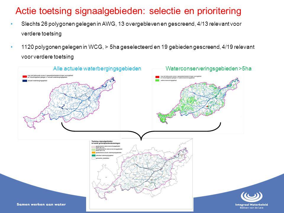 Alle actuele waterbergingsgebiedenWaterconserveringsgebieden >5ha Actie toetsing signaalgebieden: selectie en prioritering Slechts 26 polygonen gelege