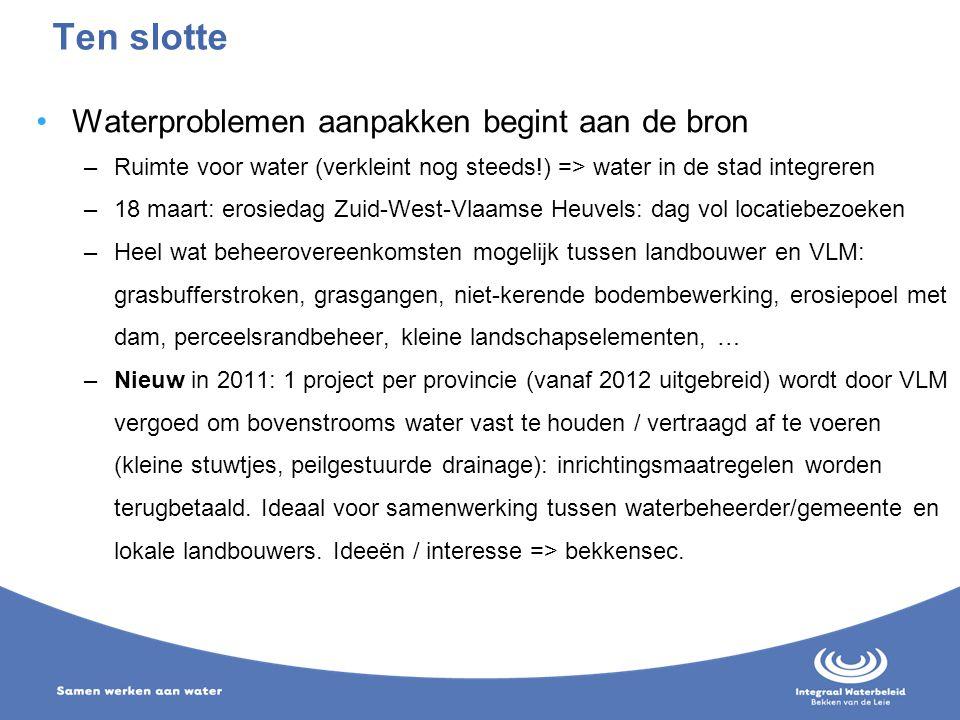 Waterproblemen aanpakken begint aan de bron –Ruimte voor water (verkleint nog steeds!) => water in de stad integreren –18 maart: erosiedag Zuid-West-V
