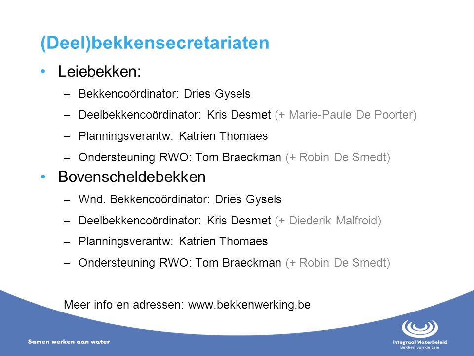 (Deel)bekkensecretariaten Leiebekken: –Bekkencoördinator: Dries Gysels –Deelbekkencoördinator: Kris Desmet (+ Marie-Paule De Poorter) –Planningsverant