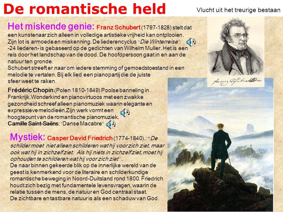 De romantische held Het miskende genie: Franz Schubert (1797-1828) stelt dat een kunstenaar zich alleen in volledige artistieke vrijheid kan ontplooien.