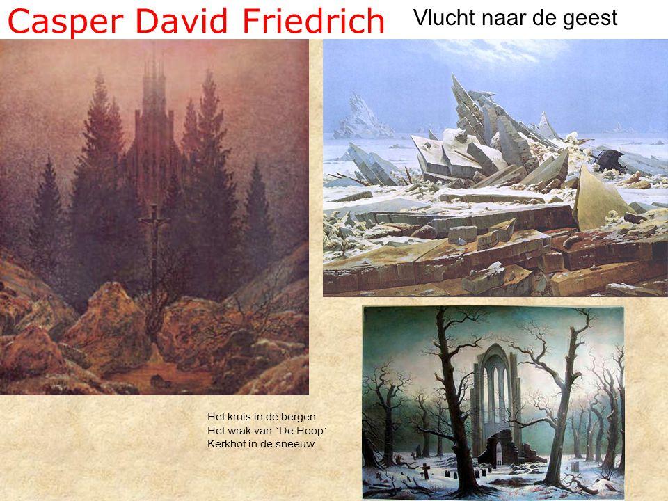Casper David Friedrich Vlucht naar de geest Het kruis in de bergen Het wrak van ' De Hoop ' Kerkhof in de sneeuw