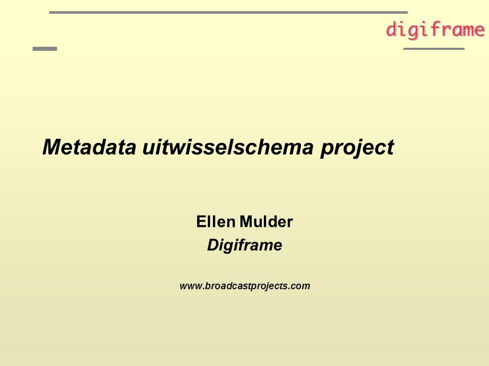 Metadata uitwisselschema project Ellen Mulder Digiframe www.broadcastprojects.com