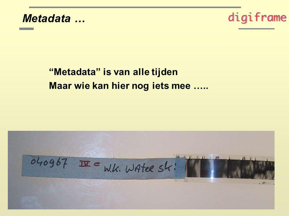 Metadata is van alle tijden Maar wie kan hier nog iets mee ….. Metadata …