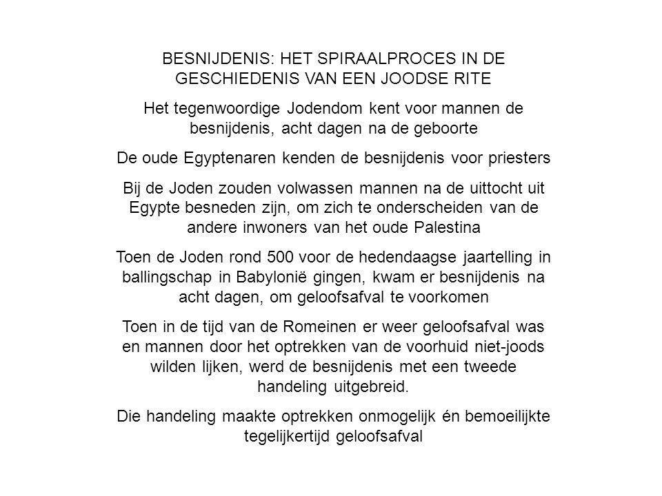 BESNIJDENIS: HET SPIRAALPROCES IN DE GESCHIEDENIS VAN EEN JOODSE RITE Het tegenwoordige Jodendom kent voor mannen de besnijdenis, acht dagen na de geb