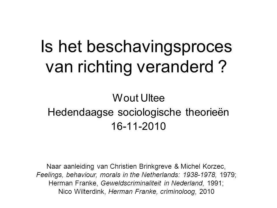 Is het beschavingsproces van richting veranderd ? Wout Ultee Hedendaagse sociologische theorieën 16-11-2010 Naar aanleiding van Christien Brinkgreve &