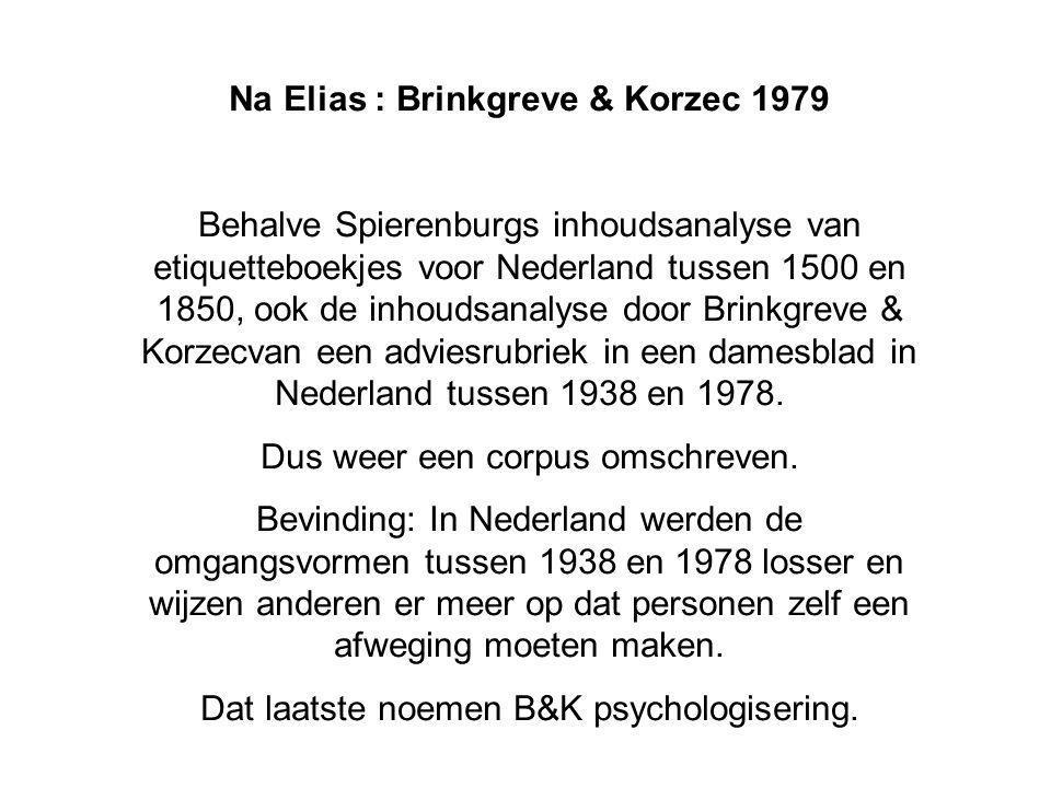 Na Elias : Brinkgreve & Korzec 1979 Behalve Spierenburgs inhoudsanalyse van etiquetteboekjes voor Nederland tussen 1500 en 1850, ook de inhoudsanalyse door Brinkgreve & Korzecvan een adviesrubriek in een damesblad in Nederland tussen 1938 en 1978.