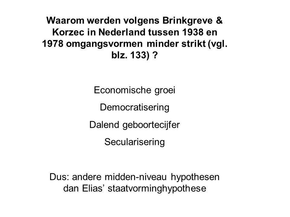 Waarom werden volgens Brinkgreve & Korzec in Nederland tussen 1938 en 1978 omgangsvormen minder strikt (vgl. blz. 133) ? Economische groei Democratise