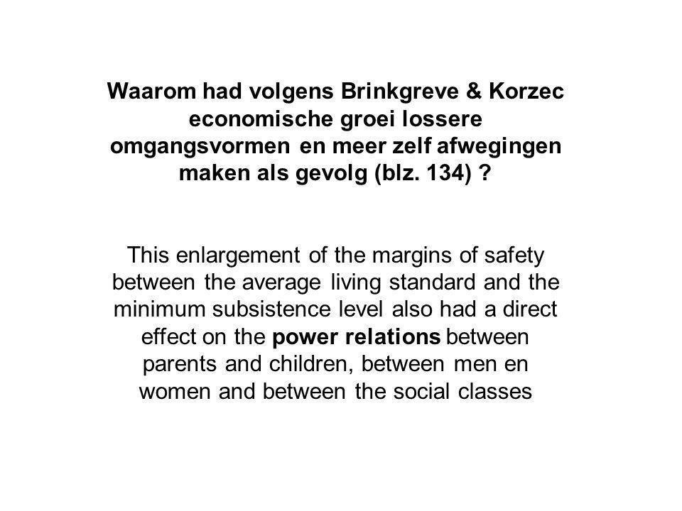 Waarom had volgens Brinkgreve & Korzec economische groei lossere omgangsvormen en meer zelf afwegingen maken als gevolg (blz.