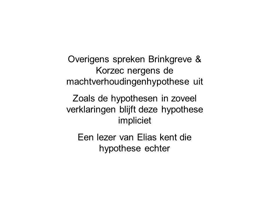 Overigens spreken Brinkgreve & Korzec nergens de machtverhoudingenhypothese uit Zoals de hypothesen in zoveel verklaringen blijft deze hypothese impliciet Een lezer van Elias kent die hypothese echter