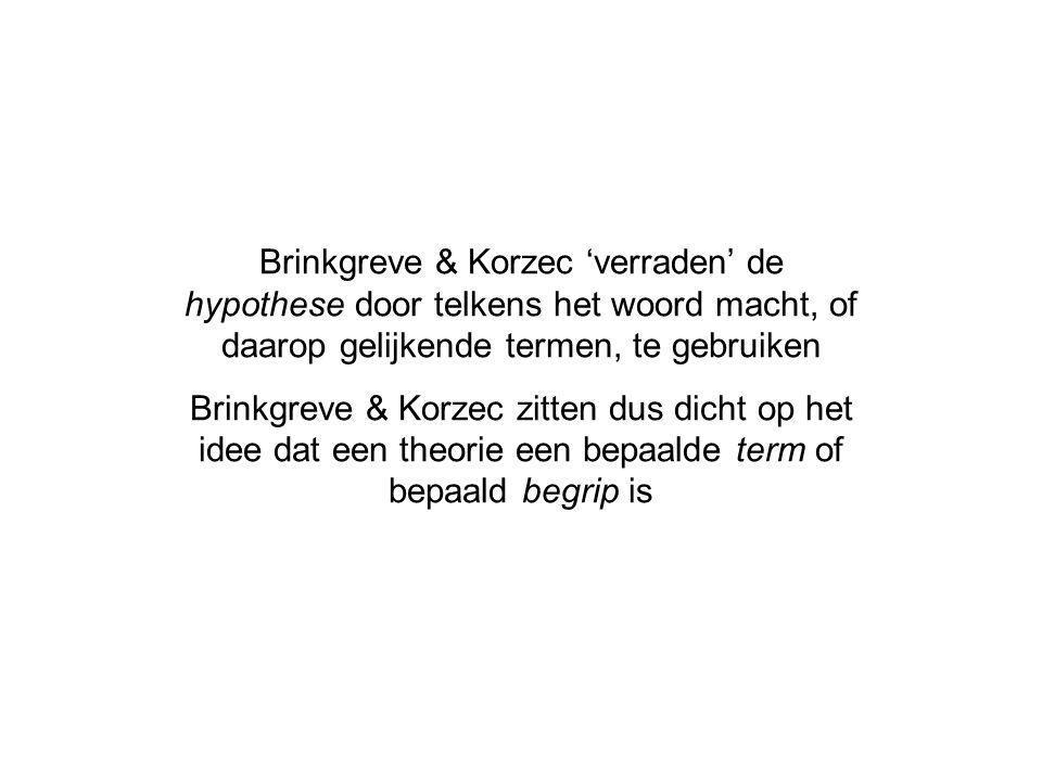 Brinkgreve & Korzec 'verraden' de hypothese door telkens het woord macht, of daarop gelijkende termen, te gebruiken Brinkgreve & Korzec zitten dus dicht op het idee dat een theorie een bepaalde term of bepaald begrip is