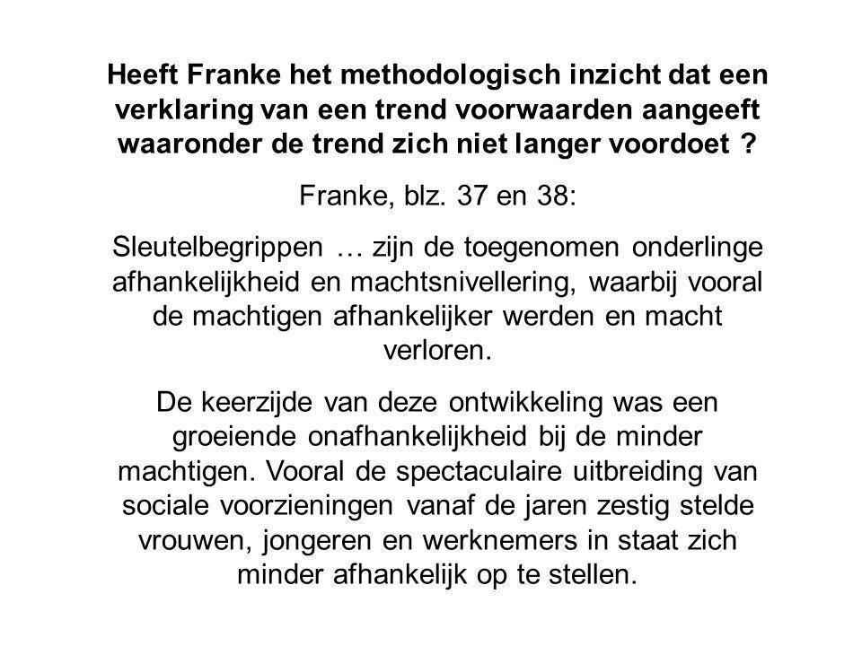Heeft Franke het methodologisch inzicht dat een verklaring van een trend voorwaarden aangeeft waaronder de trend zich niet langer voordoet .
