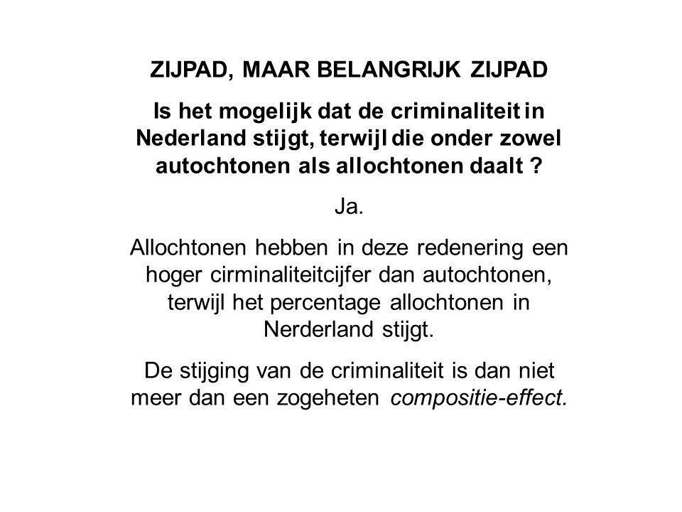 ZIJPAD, MAAR BELANGRIJK ZIJPAD Is het mogelijk dat de criminaliteit in Nederland stijgt, terwijl die onder zowel autochtonen als allochtonen daalt .