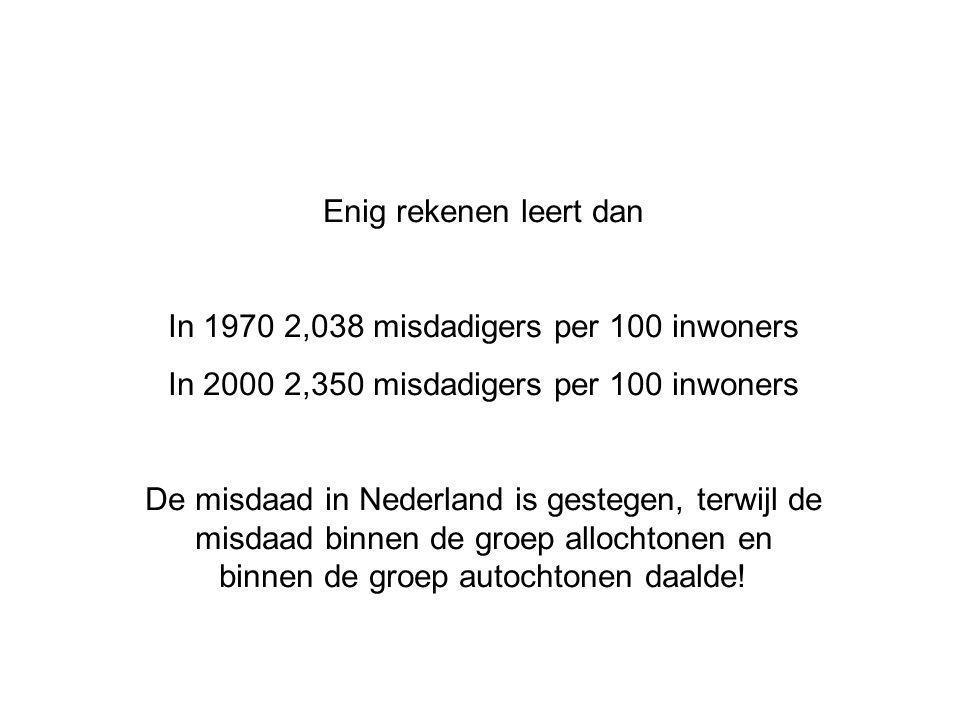 Enig rekenen leert dan In 1970 2,038 misdadigers per 100 inwoners In 2000 2,350 misdadigers per 100 inwoners De misdaad in Nederland is gestegen, terwijl de misdaad binnen de groep allochtonen en binnen de groep autochtonen daalde!