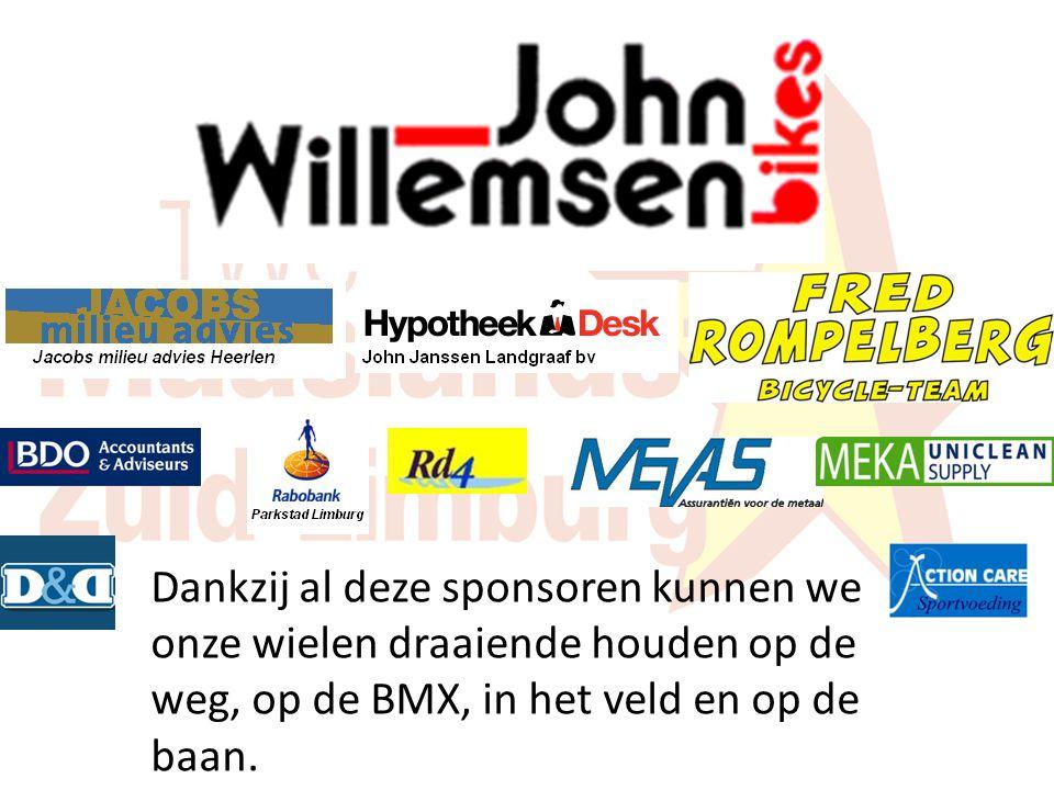 Dankzij al deze sponsoren kunnen we onze wielen draaiende houden op de weg, op de BMX, in het veld en op de baan.