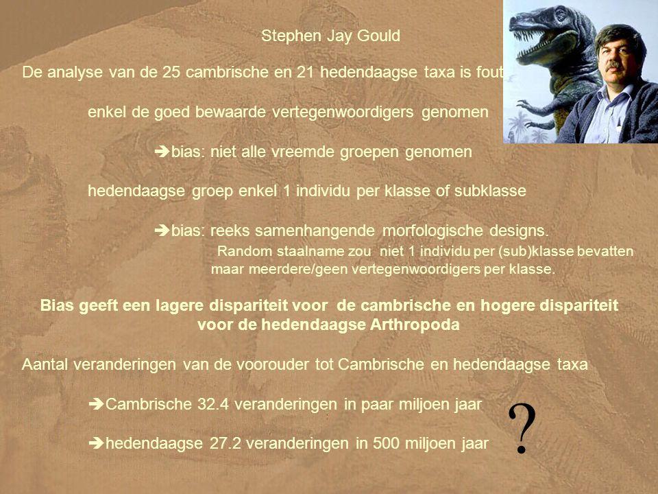 Stephen Jay Gould De analyse van de 25 cambrische en 21 hedendaagse taxa is fout.