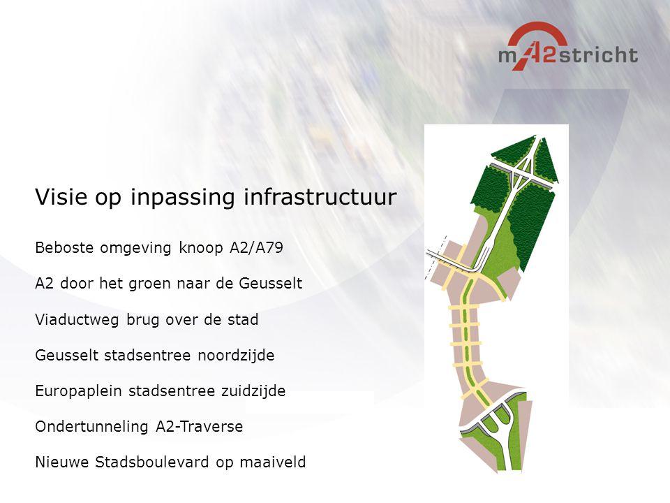 Beboste omgeving knoop A2/A79 A2 door het groen naar de Geusselt Viaductweg brug over de stad Geusselt stadsentree noordzijde Europaplein stadsentree