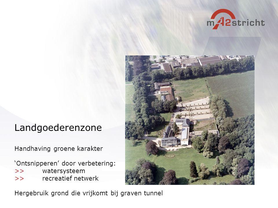 Handhaving groene karakter 'Ontsnipperen' door verbetering: >>watersysteem >>recreatief netwerk Hergebruik grond die vrijkomt bij graven tunnel Landgo