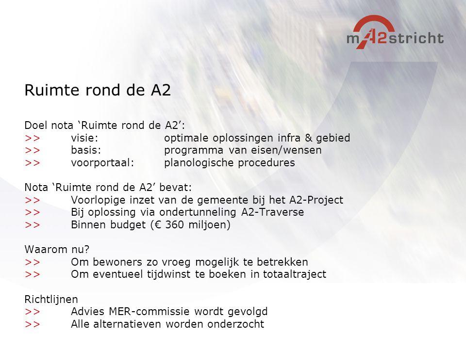 Ruimte rond de A2 Doel nota 'Ruimte rond de A2': >>visie:optimale oplossingen infra & gebied >>basis: programma van eisen/wensen >>voorportaal: planol