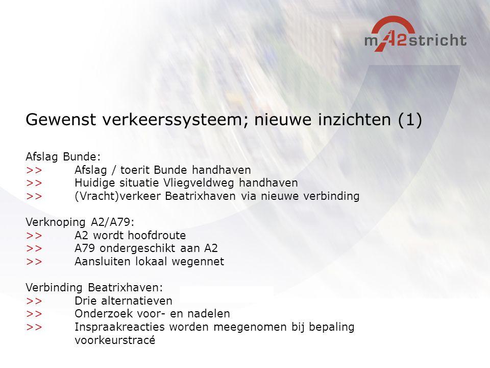 Afslag Bunde: >>Afslag / toerit Bunde handhaven >>Huidige situatie Vliegveldweg handhaven >>(Vracht)verkeer Beatrixhaven via nieuwe verbinding Verknop