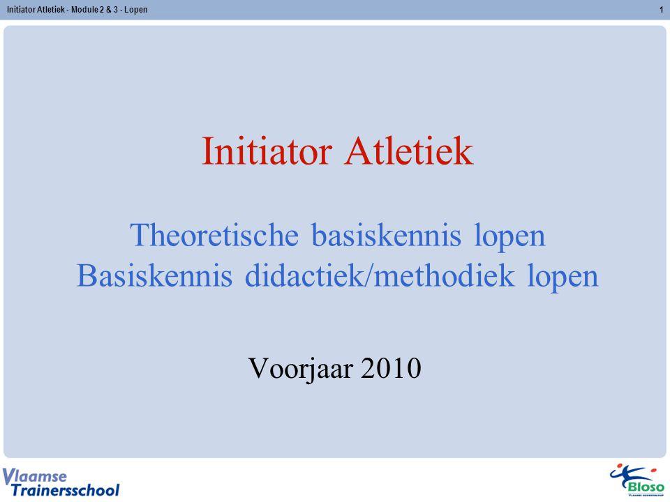 1 Initiator Atletiek Theoretische basiskennis lopen Basiskennis didactiek/methodiek lopen Voorjaar 2010 Initiator Atletiek - Module 2 & 3 - Lopen