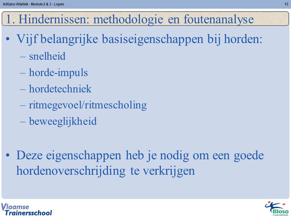 13 1. Hindernissen: methodologie en foutenanalyse Vijf belangrijke basiseigenschappen bij horden: –snelheid –horde-impuls –hordetechniek –ritmegevoel/