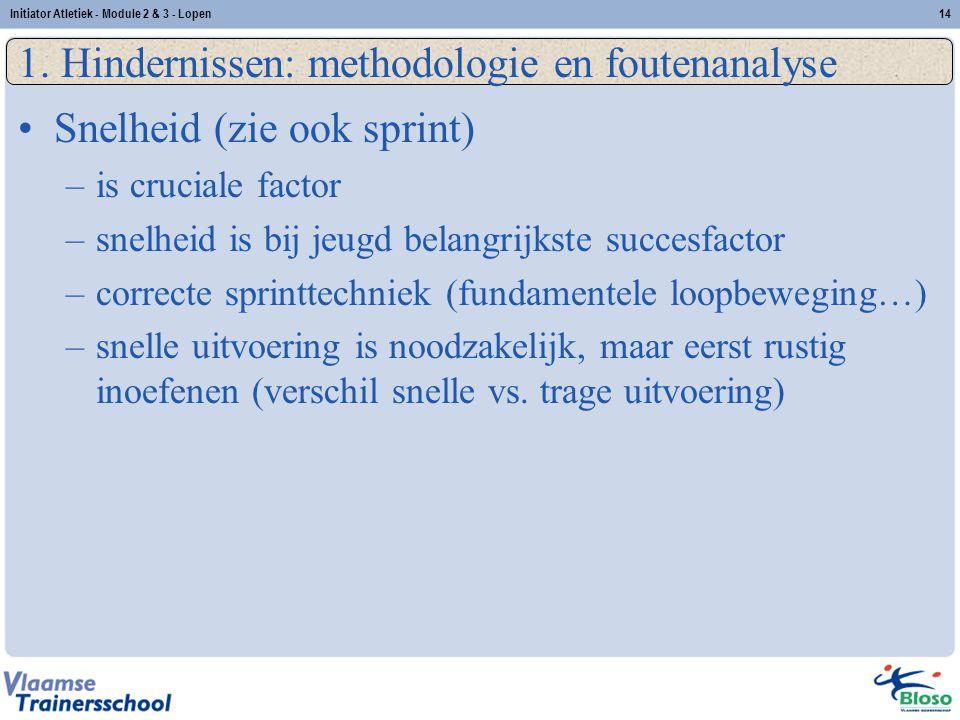 14 1. Hindernissen: methodologie en foutenanalyse Snelheid (zie ook sprint) –is cruciale factor –snelheid is bij jeugd belangrijkste succesfactor –cor