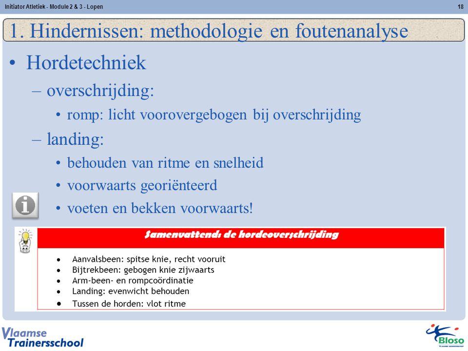 18 1. Hindernissen: methodologie en foutenanalyse Hordetechniek –overschrijding: romp: licht voorovergebogen bij overschrijding –landing: behouden van