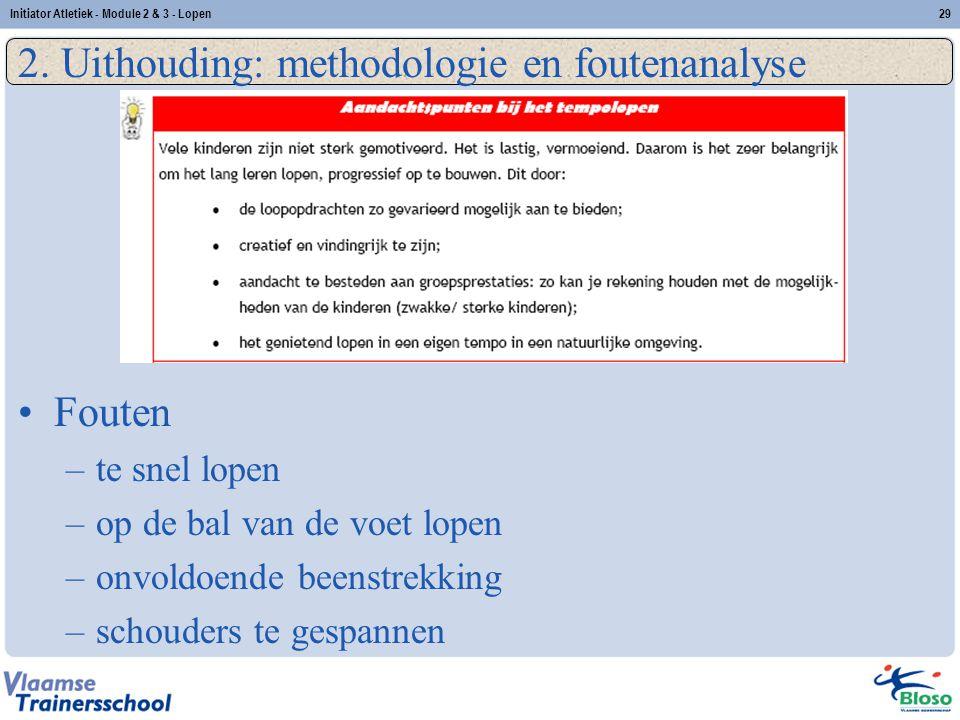 29 2. Uithouding: methodologie en foutenanalyse Fouten –te snel lopen –op de bal van de voet lopen –onvoldoende beenstrekking –schouders te gespannen