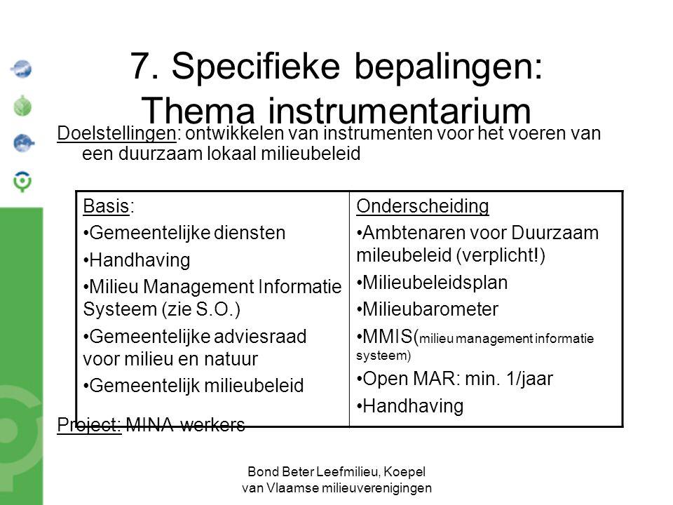 Bond Beter Leefmilieu, Koepel van Vlaamse milieuverenigingen 7.