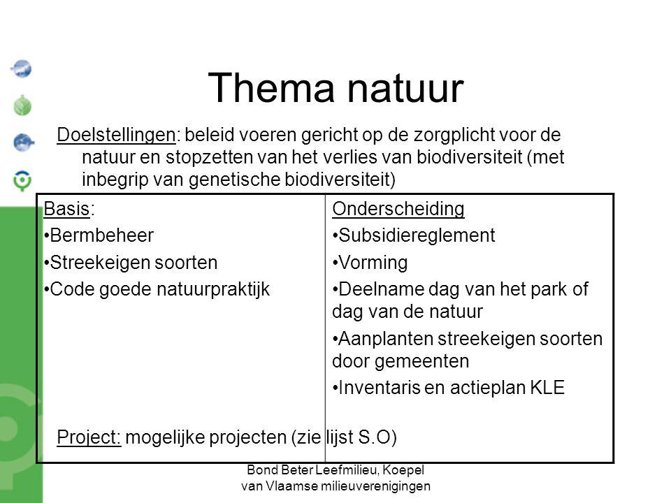 Bond Beter Leefmilieu, Koepel van Vlaamse milieuverenigingen Thema natuur Doelstellingen: beleid voeren gericht op de zorgplicht voor de natuur en stopzetten van het verlies van biodiversiteit (met inbegrip van genetische biodiversiteit) Project: mogelijke projecten (zie lijst S.O) Basis: Bermbeheer Streekeigen soorten Code goede natuurpraktijk Onderscheiding Subsidiereglement Vorming Deelname dag van het park of dag van de natuur Aanplanten streekeigen soorten door gemeenten Inventaris en actieplan KLE
