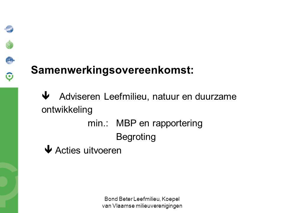 Bond Beter Leefmilieu, Koepel van Vlaamse milieuverenigingen Samenwerkingsovereenkomst:  Adviseren Leefmilieu, natuur en duurzame ontwikkeling min.:MBP en rapportering Begroting  Acties uitvoeren