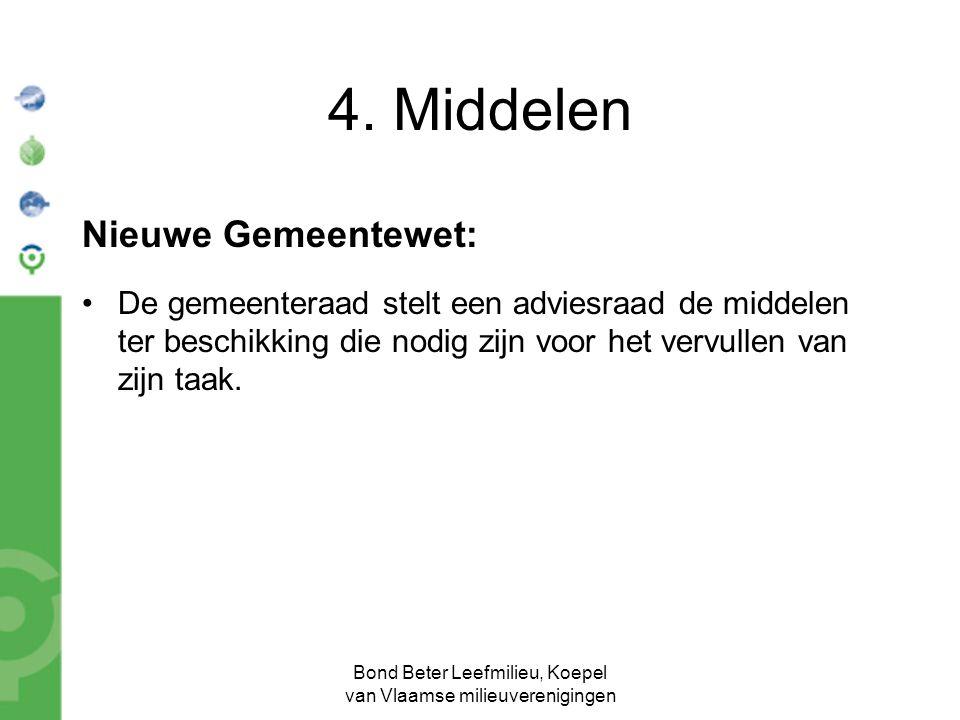 Bond Beter Leefmilieu, Koepel van Vlaamse milieuverenigingen Nieuwe Gemeentewet: De gemeenteraad stelt een adviesraad de middelen ter beschikking die nodig zijn voor het vervullen van zijn taak.