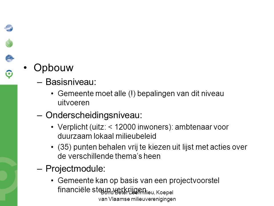 Bond Beter Leefmilieu, Koepel van Vlaamse milieuverenigingen Opbouw –Basisniveau: Gemeente moet alle (!) bepalingen van dit niveau uitvoeren –Onderscheidingsniveau: Verplicht (uitz: < 12000 inwoners): ambtenaar voor duurzaam lokaal milieubeleid (35) punten behalen vrij te kiezen uit lijst met acties over de verschillende thema's heen –Projectmodule: Gemeente kan op basis van een projectvoorstel financiële steun verkrijgen