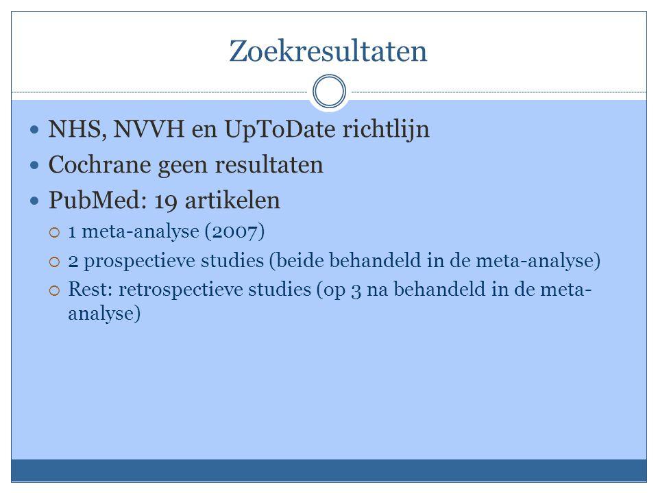 Zoekresultaten NHS, NVVH en UpToDate richtlijn Cochrane geen resultaten PubMed: 19 artikelen  1 meta-analyse (2007)  2 prospectieve studies (beide behandeld in de meta-analyse)  Rest: retrospectieve studies (op 3 na behandeld in de meta- analyse)