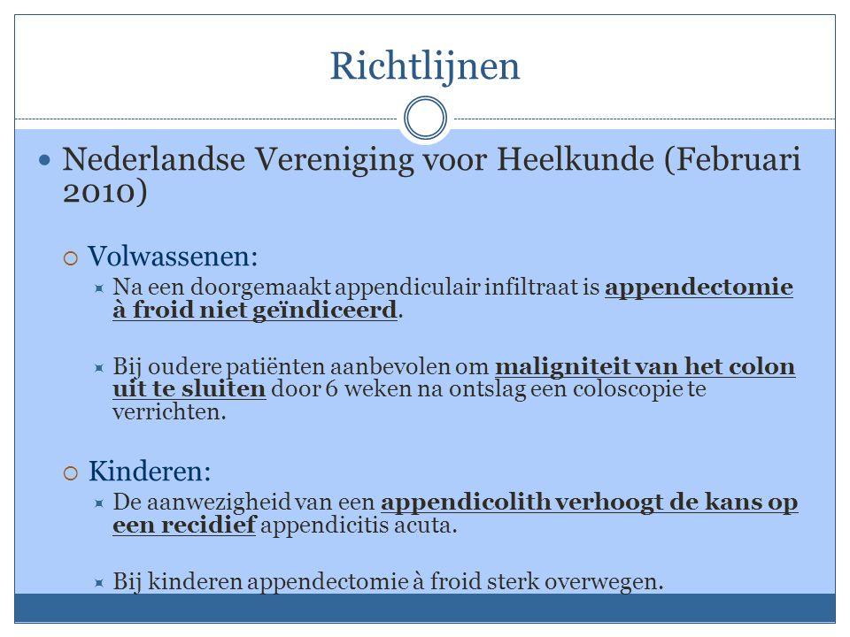 Richtlijnen Nederlandse Vereniging voor Heelkunde (Februari 2010)  Volwassenen:  Na een doorgemaakt appendiculair infiltraat is appendectomie à froid niet geïndiceerd.