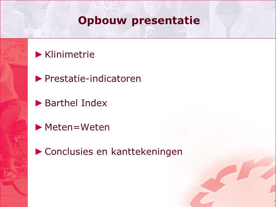 Opbouw presentatie ► Klinimetrie ► Prestatie-indicatoren ► Barthel Index ► Meten=Weten ► Conclusies en kanttekeningen