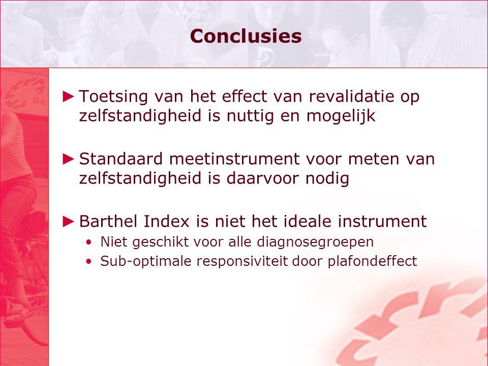 Conclusies ► Toetsing van het effect van revalidatie op zelfstandigheid is nuttig en mogelijk ► Standaard meetinstrument voor meten van zelfstandighei