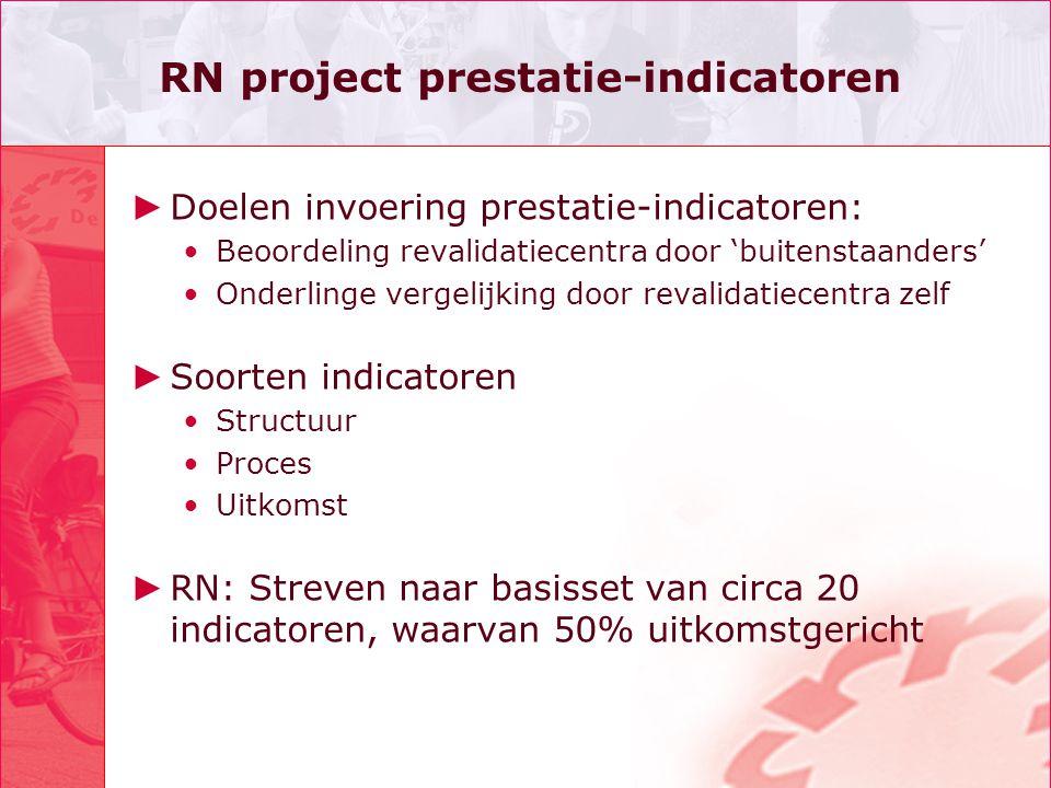 RN project prestatie-indicatoren ► Doelen invoering prestatie-indicatoren: Beoordeling revalidatiecentra door 'buitenstaanders' Onderlinge vergelijkin