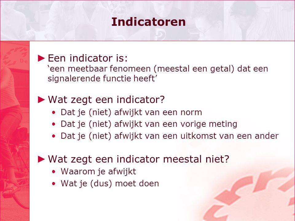 Indicatoren ► Een indicator is: 'een meetbaar fenomeen (meestal een getal) dat een signalerende functie heeft' ► Wat zegt een indicator? Dat je (niet)