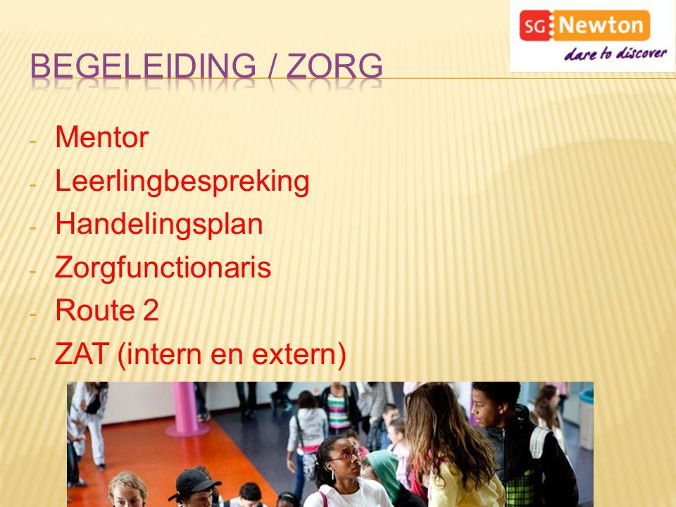 - Mentor - Leerlingbespreking - Handelingsplan - Zorgfunctionaris - Route 2 - ZAT (intern en extern)